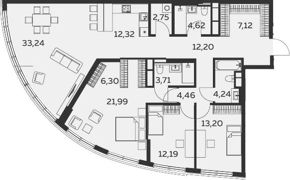 4Е-к.кв, 138.34 м²