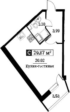 Студия, 29.87 м²