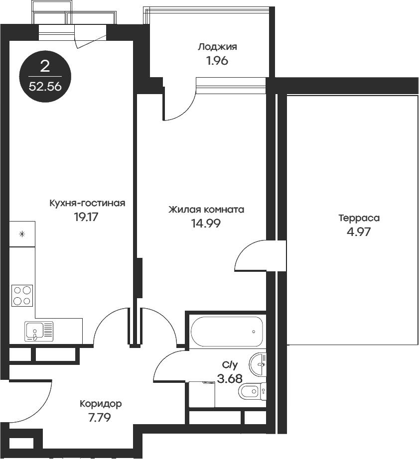2Е-комнатная, 52.56 м²– 2