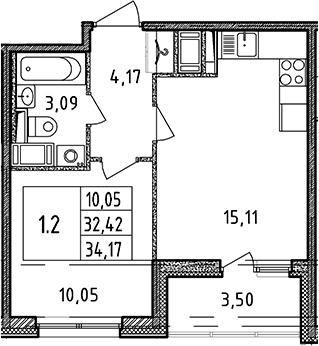 2Е-к.кв, 32.42 м², от 13 этажа