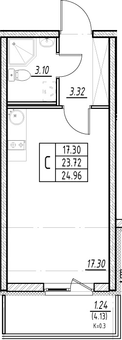 Студия, 23.72 м², 2 этаж
