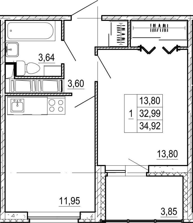 1-к.кв, 36.84 м²