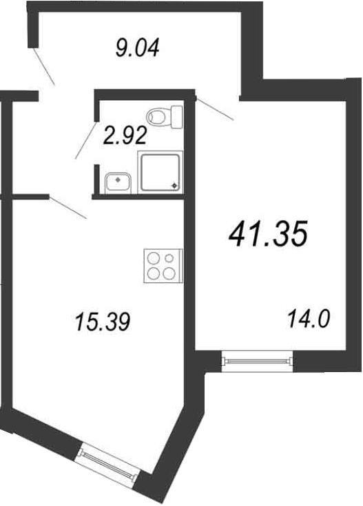 2-к.кв (евро), 41.35 м²