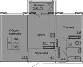 2-к.кв, 52.9 м², от 13 этажа