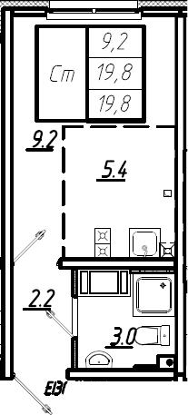 Студия, 19.8 м²– 2