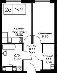2Е-к.кв, 37.77 м², 9 этаж
