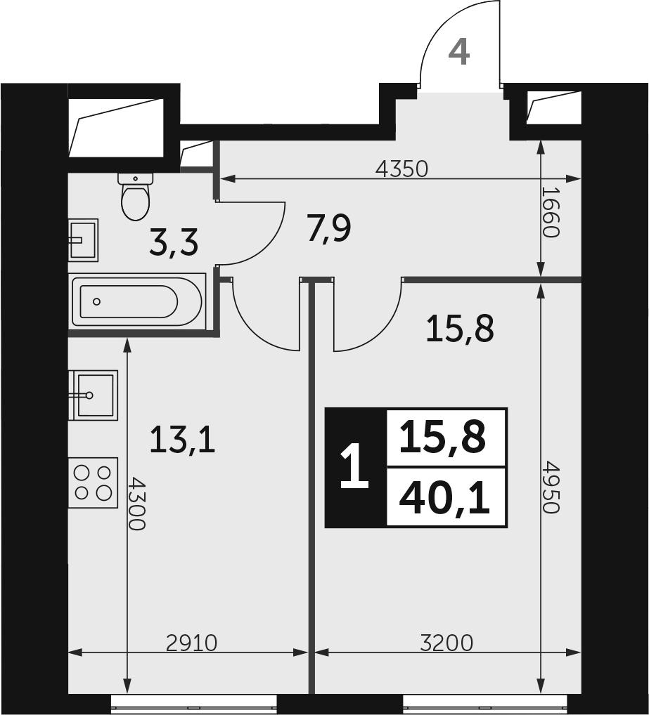 1-к.кв, 40.1 м², 23 этаж