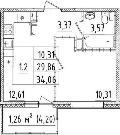 1-комнатная, 29.86 м²– 2