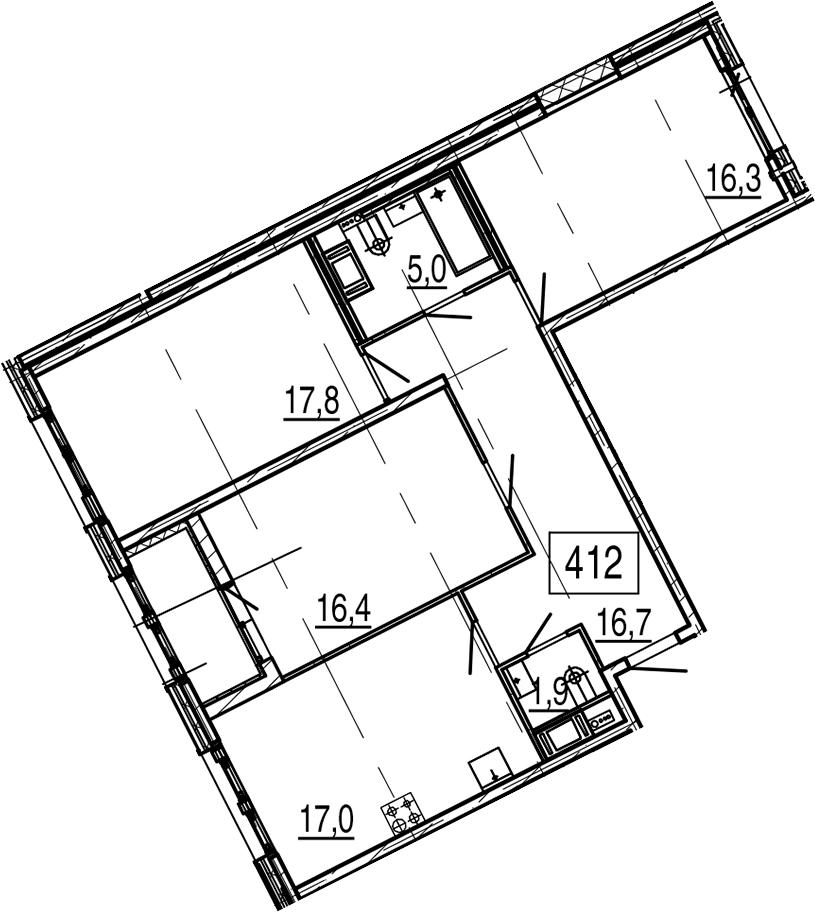 4Е-к.кв, 92.9 м², 6 этаж