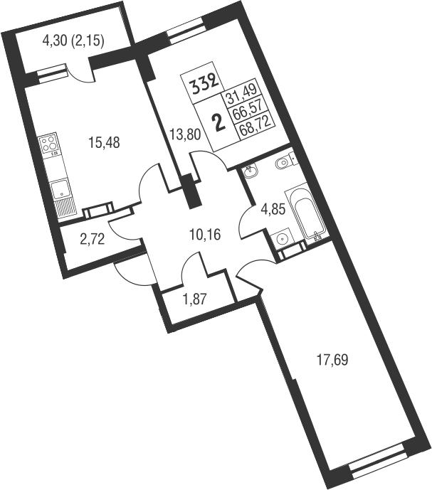 3Е-комнатная, 68.72 м²– 2