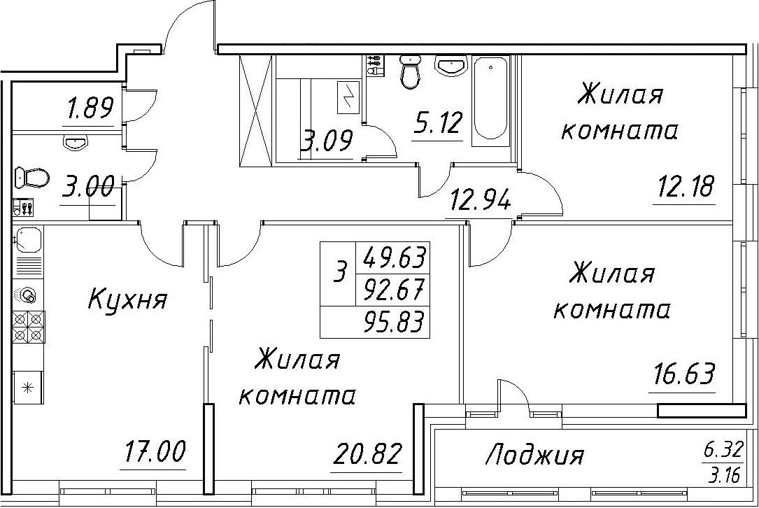 3-к.кв, 95.83 м²