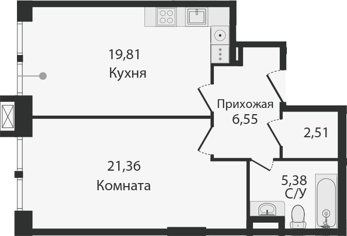 2Е-комнатная, 55.61 м²– 2