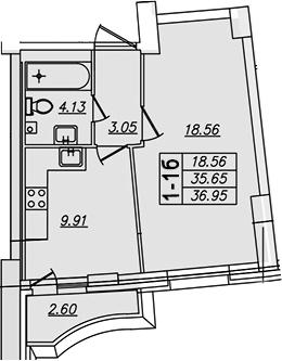 1-комнатная, 36.95 м²– 2