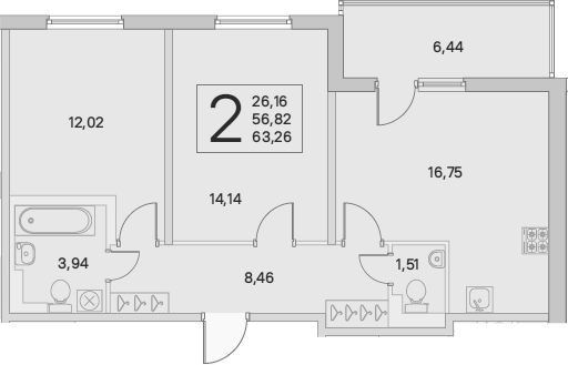 3Е-комнатная, 63.26 м²– 2