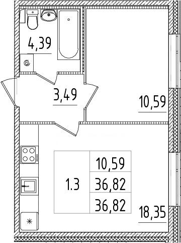 2-к.кв (евро), 36.82 м²