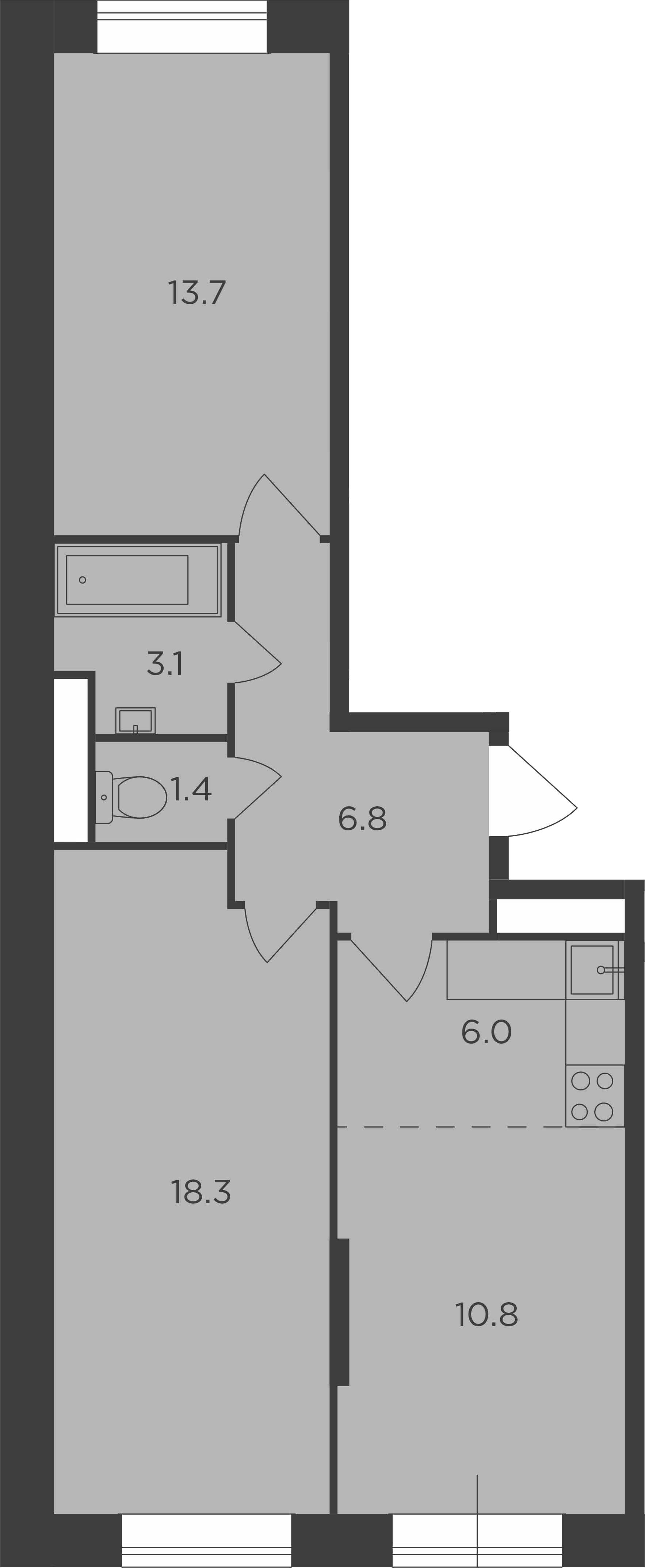 3Е-комнатная, 60.1 м²– 2