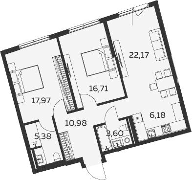 3-к.кв (евро), 82.99 м²