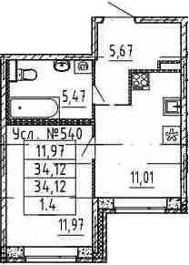 1-комнатная, 34.12 м²– 2