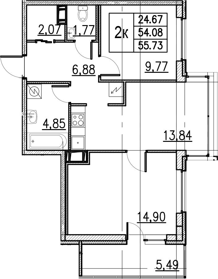 3Е-комнатная, 55.73 м²– 2