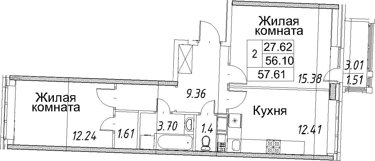 2-к.кв, 57.61 м²