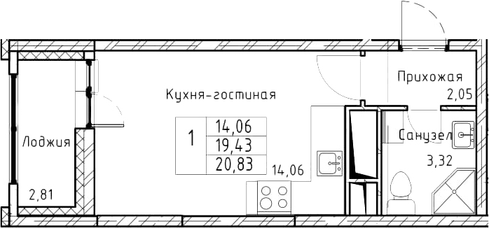 Студия, 22.23 м²