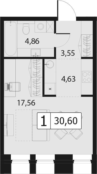 1-комнатная, 30.6 м²– 2