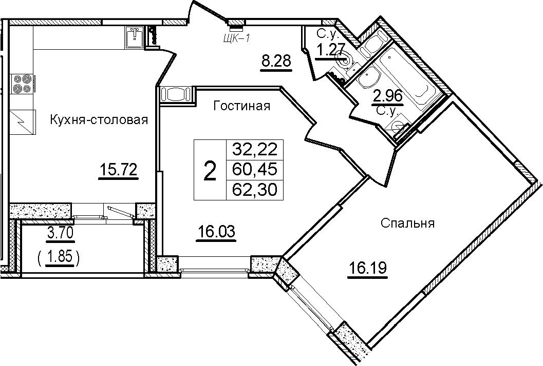3Е-к.кв, 62.3 м²