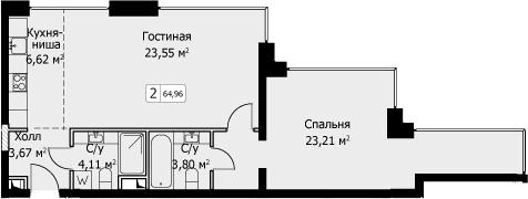 2-к.кв (евро), 64.96 м²