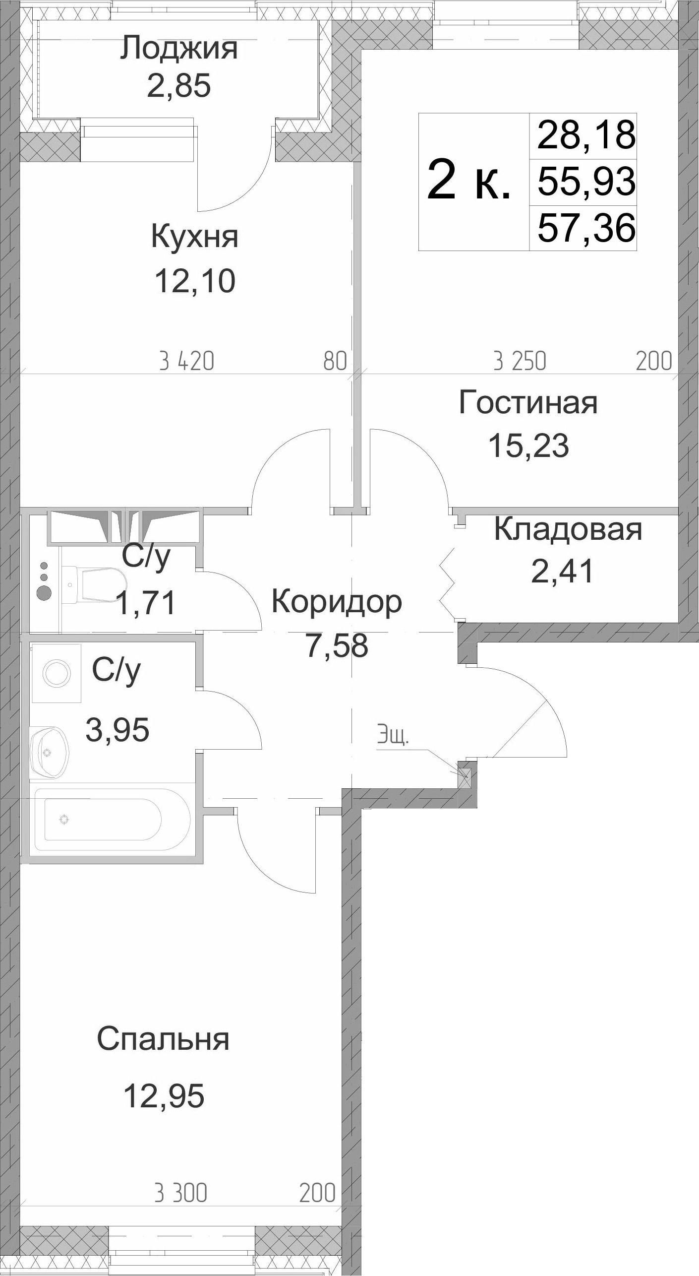 2-к.кв, 57.36 м², 12 этаж