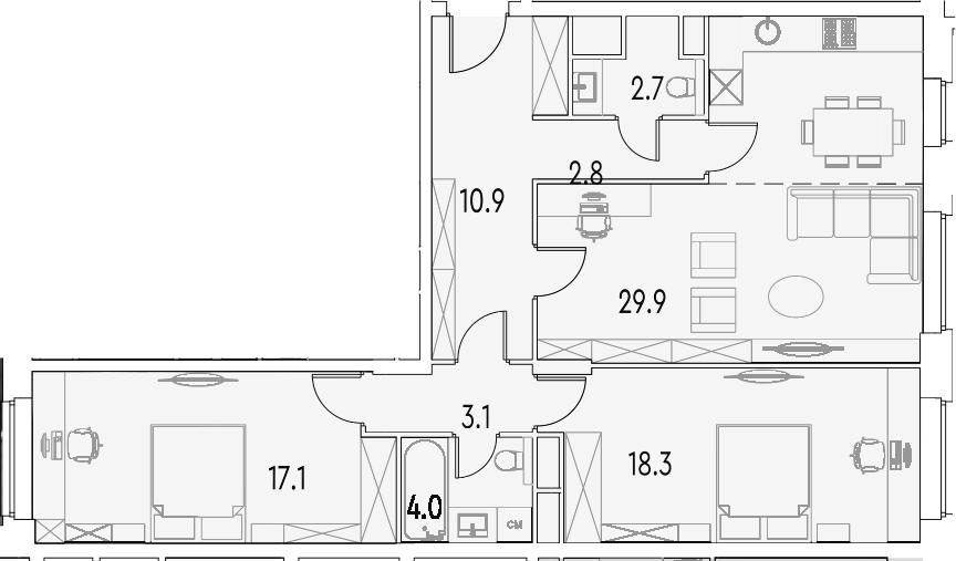 2-к.кв, 88.7 м²