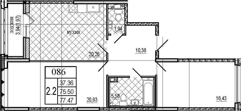 3Е-комнатная, 77.47 м²– 2