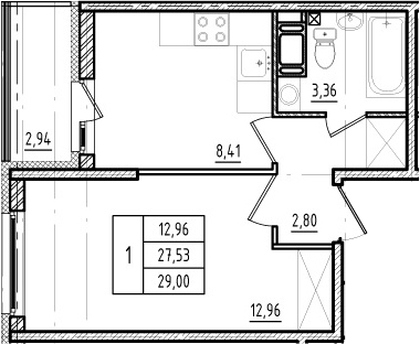 1-к.кв, 27.53 м²