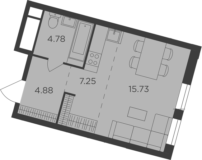 Студия, 32.64 м², 18 этаж