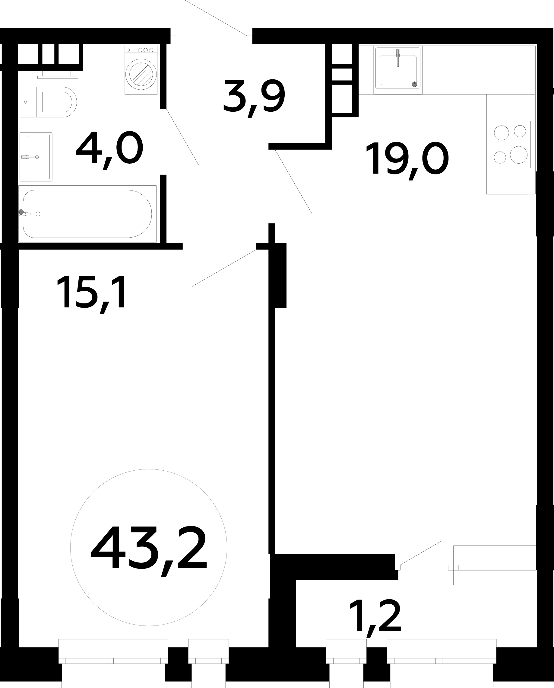 2Е-комнатная, 43.2 м²– 2