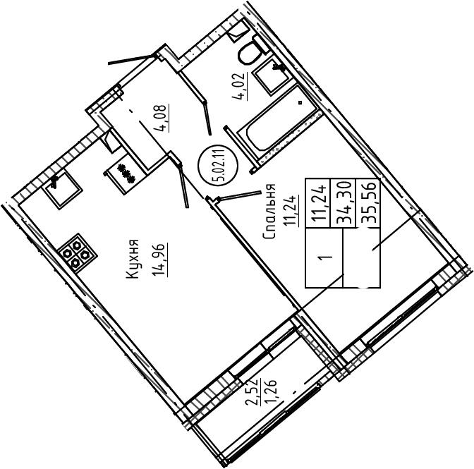 1-к.кв, 35.56 м², 2 этаж