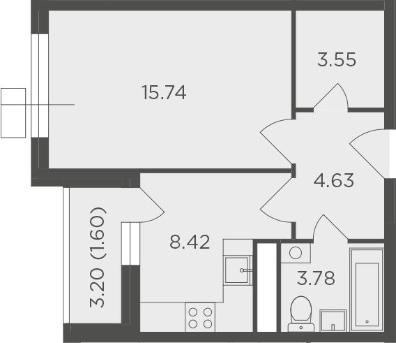 1-комнатная, 37.72 м²– 2