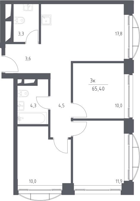 4-к.кв (евро), 65.4 м²