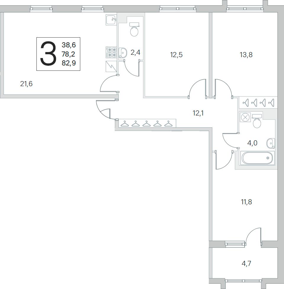 4Е-к.кв, 78.2 м², 2 этаж