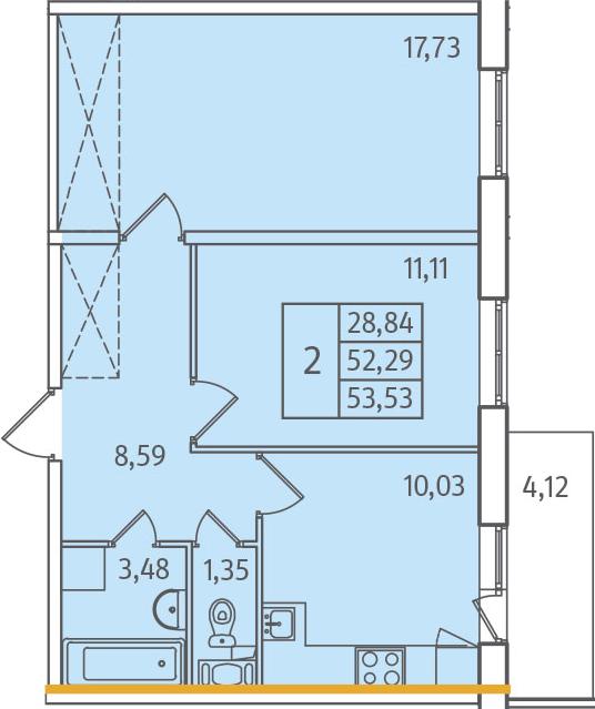 2-к.кв, 53.53 м²