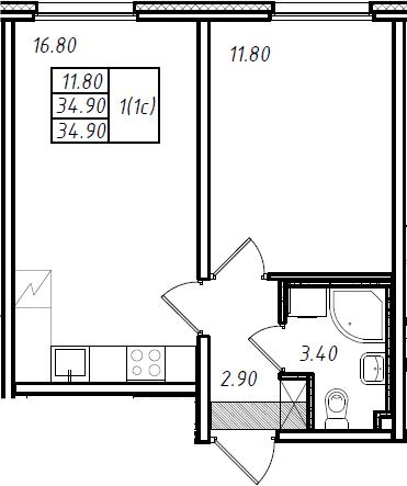 2Е-комнатная, 34.6 м²– 2