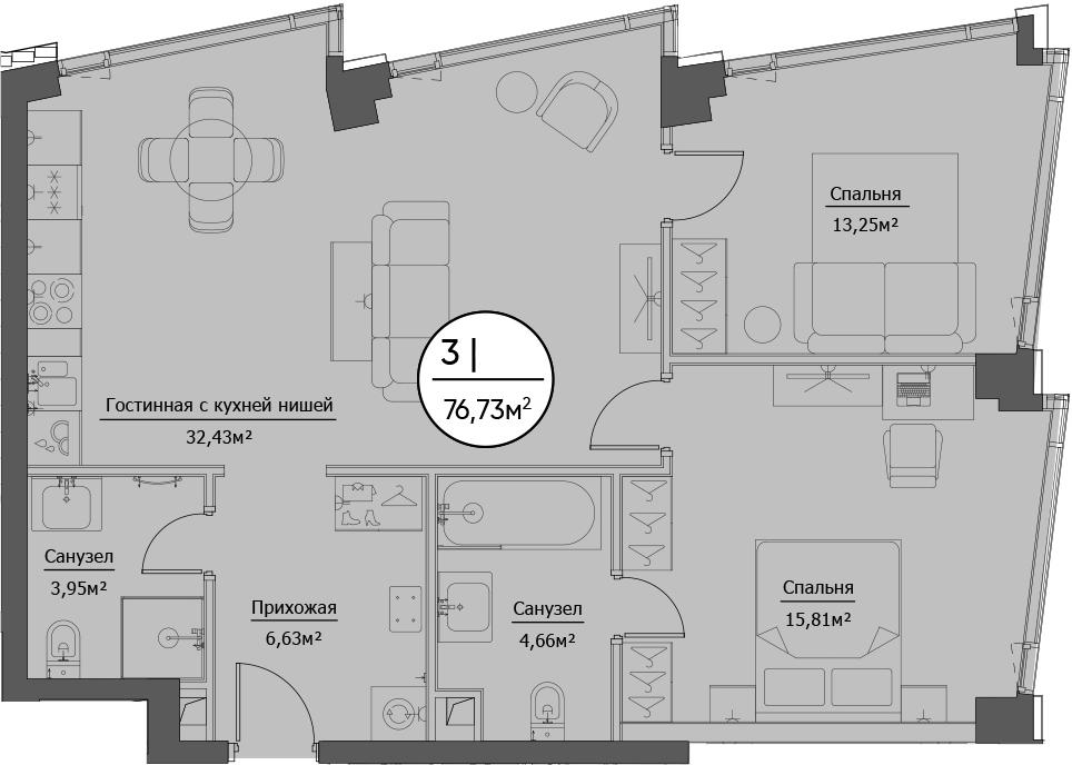 3Е-комнатная, 76.73 м²– 2