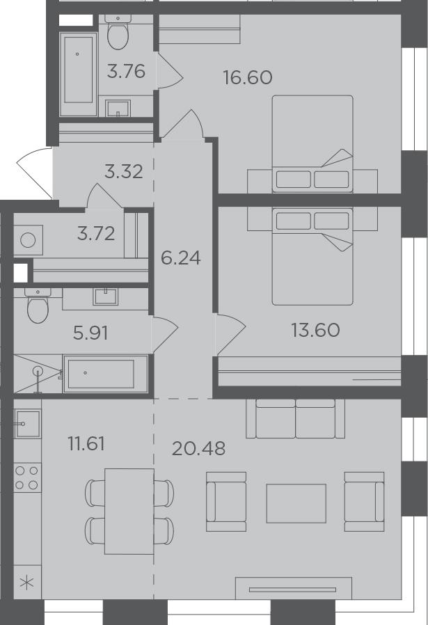 3-к.кв, 85.24 м², 9 этаж