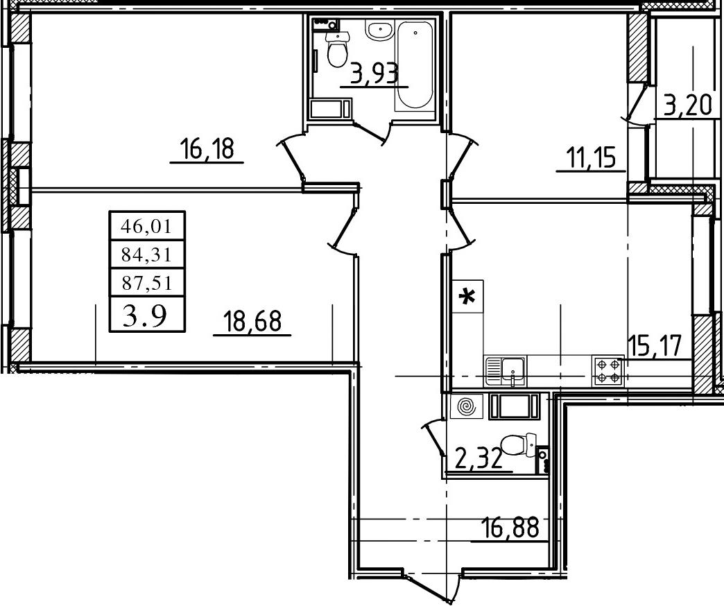 3-комнатная, 84.31 м²– 2