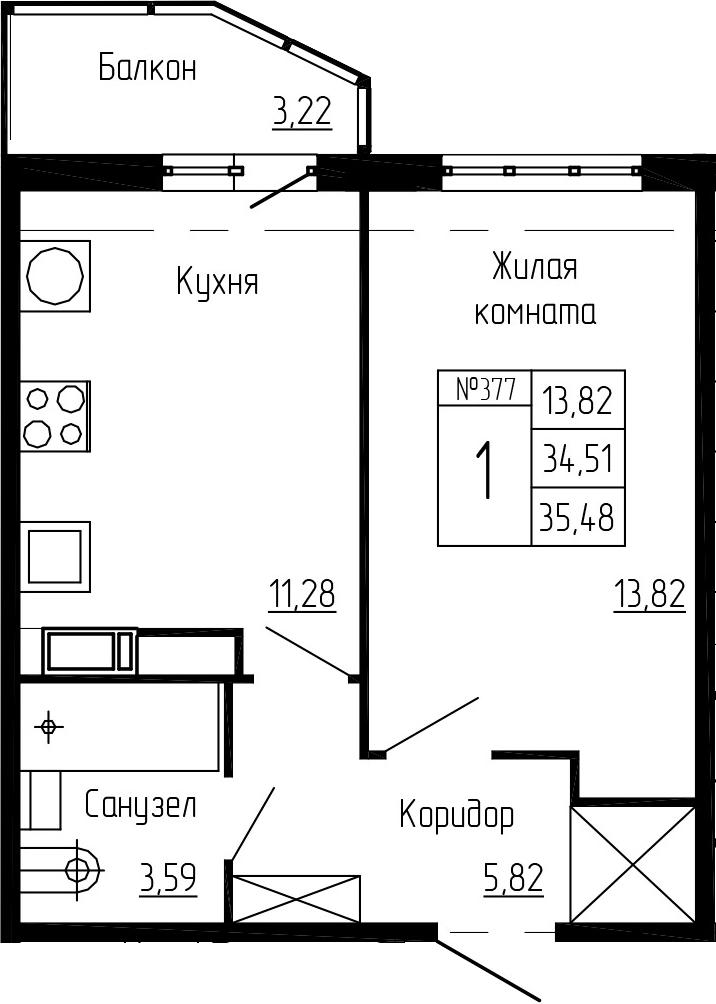 1-к.кв, 35.48 м², 11 этаж