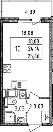 Студия, 25.46 м²– 2