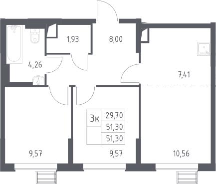 3-к.кв (евро), 51.3 м²