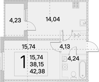 1-к.кв, 40.27 м²