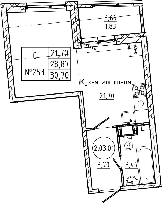 Студия, 30.7 м²– 2