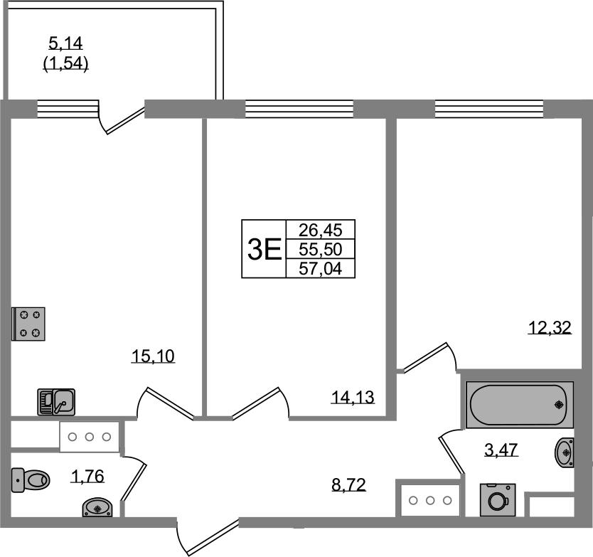 3Е-к.кв, 55.5 м², от 2 этажа