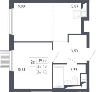2Е-комнатная, 34.43 м²– 2